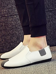 Men's Shoes Leatherette Summer Fall Moccasin Loafers & Slip-Ons Walking Shoes For Casual White Black Green