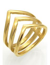 cheap -Men's Women's Band Ring Personalized Geometric Unique Design Vintage Euramerican Fashion Double-layer Rock Titanium Steel 18K Gold Square