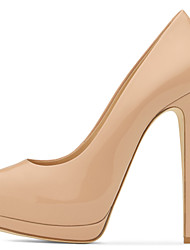 Women's Sexy Nude Blush Patent Leather High Heel Platform Pumps Ladies Peep Toe Extreme Heel Shoes 2017 Plus Size Spring Summer Autumn Shoes