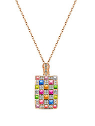 cheap -Women's Square Unique Design Logo Style Dangling Style Fashion Hypoallergenic USA Carved Elegant Pendant Necklace Crystal Crystal Alloy
