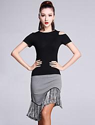 Latin Dance Outfits Women's Performance Modal Tassel(s) 2 Pieces Short Sleeve Natural Top Skirt