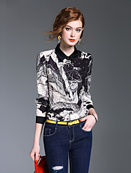 cheap -XSSL Women's Daily Going out Cute Casual Street chic Spring Fall Shirt,Print Stand Long Sleeves Polyester Medium
