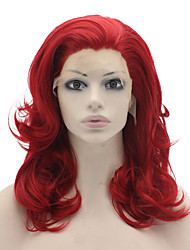 Red Color Synthetic Lace Front Wigs Loose Wave Heat Resistant Fiber Hair Wig 14-16 Inch Available