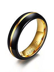 Men's Ring Basic Personalized Euramerican Simple Style Costume Jewelry Fashion Gold Plated Tungsten Steel Circle Round Geometric Jewelry