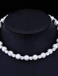 Women's Choker Necklaces Pearl AAA Cubic Zirconia Imitation Pearl Cubic Zirconia Basic White Jewelry ForWedding Special Occasion