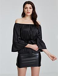 billige -Bateau-hals Dame - Ensfarvet, Åben ryg T-shirt Polyester