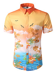 Men's Going out Beach Holiday Simple Boho Active Spring Summer Shirt,Print Classic Collar Short Sleeve Cotton Polyester Medium