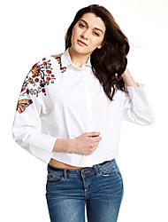 cheap -Women's Going out Street chic Cotton Shirt - Embroidered Shirt Collar