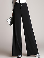Women's High Rise Inelastic Chinos Pants,Simple Wide Leg Pure Color Solid