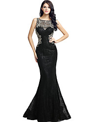 cheap -Mermaid / Trumpet Illusion Neckline Floor Length Sequined Formal Evening Dress with Beading Sequins by Sarahbridal