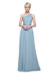 cheap -Sheath / Column One Shoulder Floor Length Chiffon / Lace Bodice Bridesmaid Dress with Appliques / Sash / Ribbon / Pleats by LAN TING BRIDE®