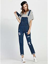 economico -Da donna A vita medio-alta Moda città strenchy Largo Jeans Tuta da lavoro Pantaloni,Tinta unita Con stampe Poliestere Primavera Estate