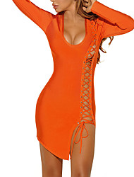 cheap -Women's Party Going out Club Casual Sexy Street chic Bodycon Dress,Solid U Neck Asymmetrical Long Sleeves Polyester Spring Fall Mid Rise