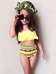 cheap -Girls' Bow  Print Geometric Swimwear Cotton Sandy Beach Swimming Kids Baby Clothing FenLieShi Yellow Swimsuit