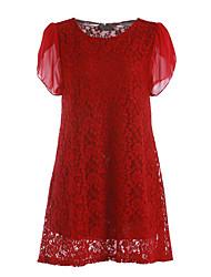 abordables -Mujer Línea A Vestido Noche Casual/Diario Tallas Grandes Simple,Un Color Escote Redondo Sobre la rodilla Manga Corta PoliésterPrimavera