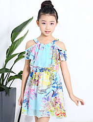 cheap -Girl's Daily Going out Holiday Floral Dress,Cotton Summer Short Sleeve Floral Blue White Black