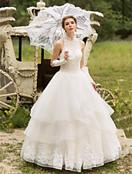 cheap -Ball Gown Illusion Neckline Floor Length Tulle Wedding Dress with Beading Appliques by LAN TING BRIDE®