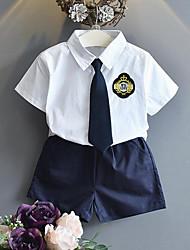 Недорогие -Мальчики Повседневные Школа Пэчворк Набор одежды, Искусственный шёлк Лето С короткими рукавами На каждый день Белый