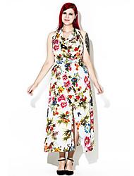 cheap -Women's Plus Size Boho Loose Dress Backless Split Print High Rise Maxi Halter