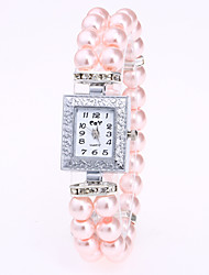 cheap -Women's Bracelet Watch Chinese Quartz Pearl Band Pearls White Red Pink Navy