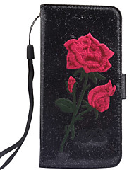 cheap -For Apple iPhone 7 7 Plus 6S 6 Plus SE 5S 5 Case Cover The New Roses Pattern Manual Embroidery PU Skin Material Phone Case