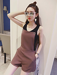 Women's Mid Rise Micro-elastic Overalls Pants,Street chic Simple Loose Solid