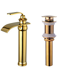 preiswerte -Mittellage Wasserfall Keramisches Ventil Golden , Waschbecken Wasserhahn