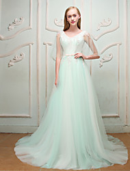 A-Line Princess V-neck Court Train Lace Satin Tulle Engagement Party Rehearsal Dinner Formal Evening Wedding Party Dress with Beading