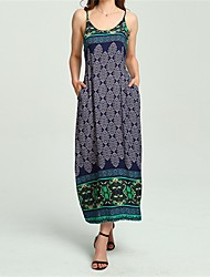 cheap -Women's Loose Dress - Graphic, Printing Maxi Strap
