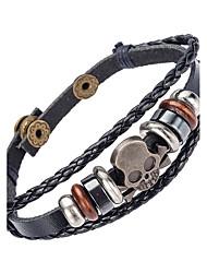 abordables -Homme Bracelets en cuir - Cuir Naturel, Mode Bracelet Noir Pour Occasion spéciale / Cadeau / Sports