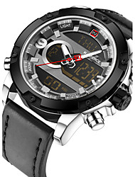 NAVIFORCE Men's Sport Military Fashion Wrist Analog-Digital Casual Calendar Genuine Leather Creative LCD Quartz Unique Cool Dual Time Zones Watch