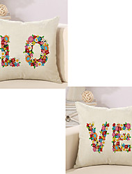cheap -Set Of 2 Creative Flowers LOVE Lovers Pillow Cover 45*45Cm Sofa Cushion Cover Square Pillow Case