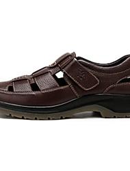 Camel Men's Summer Cow Leather Breathable Leisure Beach Sandal Shoes Color Brown/Black