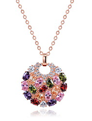 cheap -Women's Others Zircon Pendant Necklace  -  Unique Design Euramerican Fashion Round Rainbow Necklace For Wedding Party Birthday