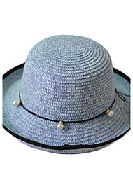 Недорогие -Для женщин На каждый день Соломенная шляпа,Лето Соломка Однотонный Чистый цвет Бант