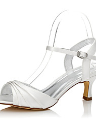 cheap -Women's Shoes Silk Spring / Summer Dyeable Shoes / Comfort Wedding Shoes Low Heel Peep Toe / Round Toe for Party & Evening / Dress Ivory