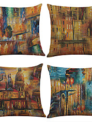 cheap -Set of 4 Architectural Abstract Oil Painting Pattern  Linen Pillowcase Sofa Home Decor Cushion Cover
