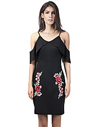 Lztlylzt Women's Going out Casual/Daily Sexy Vintage Bodycon Little Black DressFloral V Neck Above Knee Short Sleeve Cotton PolyesterSpring