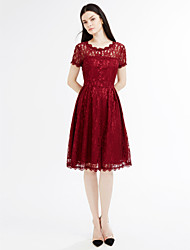 baratos -Mulheres Vintage balanço Vestido - Renda / Frente Única, Sólido Altura dos Joelhos / Primavera / Outono / Rendas