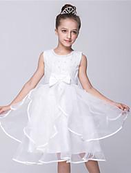 Vestido de princesa vestido de flor vestido de joelho - cetim de joia sem mangas pescoço com pregas por bflower