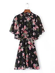cheap -Women's Going out Street chic Silk Cotton Loose Shift Dress - Floral Lace