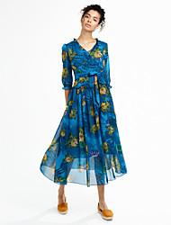 Women's Bow Plus Size Slim Boho Loose Swing Dress Print Bow Ruffle V Neck Midi Sleeve Rayon Blue Pink Green Purple Spring Mid