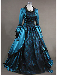 Victorian Rococo Costume Women's Party Costume Masquerade Blue Vintage Cosplay Other Satin Long Sleeves Cap Floor Length
