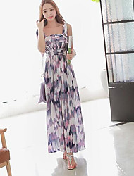 cheap -Women's Beach Chiffon Swing Dress,Print Strap Maxi Sleeveless Others Summer Mid Rise Micro-elastic Thin