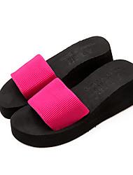 Women's Slippers & Flip-Flops Comfort Fabric Summer Casual Comfort Wedge Heel Fuchsia Black Flat