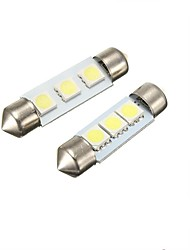 2W 36MM  Festoon 3LED SMD5050 DC12V Licence Plate Dome Interior Light Led Lamp Car LED Bulb Parking 2PCS