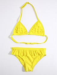 baratos -Para Meninas Listras Sólido Roupa de Banho, Algodão Amarelo Fúcsia