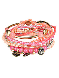 cheap -Lureme Bohemian Tube Beads Coin Charms Multi Strand Textured Stackable Bracelet Set