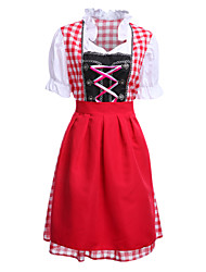 cheap -Cosplay Costumes / Party Costume Halloween / Oktoberfest Red Patchwork Terylene Dress / More Accessories Halloween/Christmas/New Year
