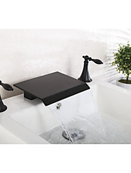 cheap -Widespread Waterfall Ceramic Valve Two Handles Three Holes Black , Bathtub Faucet